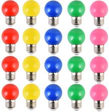 20PCS 2W E27 ampoule couleur, ampoule LED couleur unique, 200LM Lampe de Noël 2