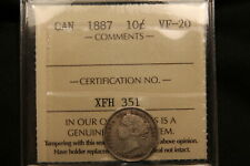 1887 Canada Silver 10 Cents VF-20 ICCS. Low mintage key date rare coin. BV $350