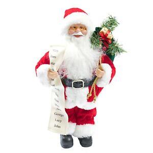 Christmas Decoration - Free Standing Santa - 30cm - Red Suit / List & Green Sack