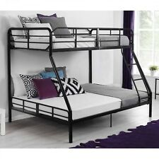 Black Bunk Bed Twin Over Full Metal Kids Bedroom Furniture Dorm Ladder Rails New