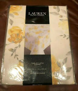 """Ralph Lauren FLORAL Yellow, Grey & White 60 x 104"""" Tablecloth -- NWT"""