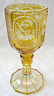 Bohemian antique carved amber glass goblet for a Jewish wedding with blessing.