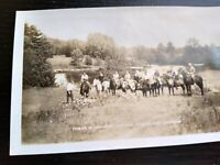 Vintage Group Of people On Horses By Lake, Norland Ontario, RPPC Photo Postcard