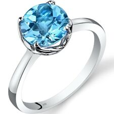 14k White Gold Swiss Blue Topaz Solitaire Ring 2.25 Ct Checkerboard Cut Size 7