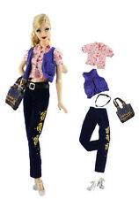 6in1 Set Casual Clothes/Outfit Vest+top+pants+belt+bag+shoes For Barbie Doll L1
