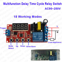 AC110V 220V LED Multifunction Delay Time Cycle Timer Relay Trigger Switch Module