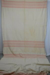antique blanket wool cream pink stripes hand made 62 x 154 in double long