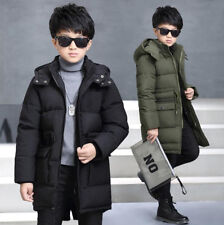 Kids Boys Winter Padded Coat Puffer Down Jacket Warm Long Hooded Coats Outerwear