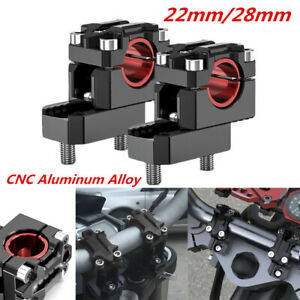 Pair CNC Aluminum Motorcycle 22mm/28mm Handle Bar Mount Clamp Risers Adjustable