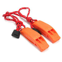 2Pcs-Outdoor Camping Hiking Rescue Emergency Survival Safety Whistle Orange