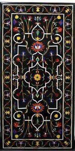 4'x2' Black Marble Dining Top Table Precious Mosaic Handmade Inlay Art Deco B542