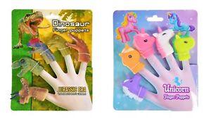 Finger Puppet Sets UNICORN / DINOSAUR 5pcs Boys Girls Party Bag Stocking Fillers