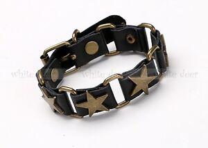 Men's Bronze Tone Lone Star Bracelet Black Leather Band Buckle Wristband