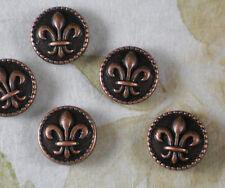 8 Fleur de Lis Coin Beads Copper Tone 16mm LEFT to RIGHT Hole NOLA #P1488