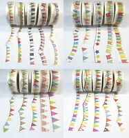 10m Washi Masking Tape Klebeband Reispapier Basteln Girlande Wimpel Motive DIY