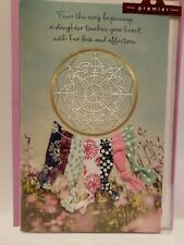 Boho Embroidered Dream Catcher Ribbons Daughter Birthday 3D Greeting Card
