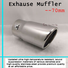 Dual Oval Rolled Angle Slanted Exhaust Muffler Tip Pipe 70mm For BMW M3 1pc