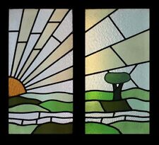 Rare English Art Deco Sunburst Over The Hills Pair Stained Glass Windows
