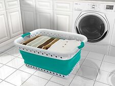 Pop and Load Collapsible Space Saving Laundry Basket - POP UP, Foldable TEAL