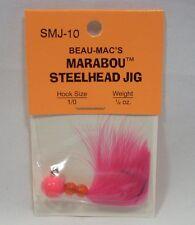 Beau-Macs Marabou Steelhead Hot Pink 1/4 oz Fishing Jig Lure Hook Size 1/0