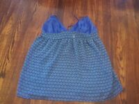 Victoria's Secret Baby Doll Chemise Teddy Nightie Blue Sheer Large