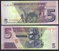 ZIMBABWE 5 DOLLARS, 2019, P-NEW, NEW HYBRID NOTE - AA PREFIX