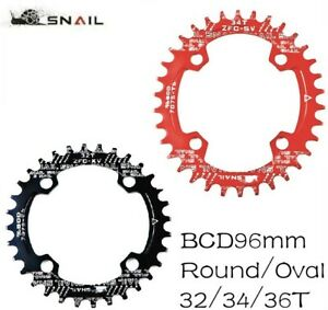 SNAIL MTB Bike Single Narrow Wide Oval Chainring Chain Ring BCD 96mm  32 34 36T