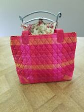 VERA BRADLEY 100% SILK RED + FUCHSIA QUILTED TOTE BAG