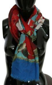 DOLCE & GABBANA Scarf Blue Red Apple Print Cashmere Wrap Shawl 140x200cm