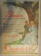 Chesterfield Cigarette Ad: Pleasure is Chesterfields ! Tabloid Page 1940's