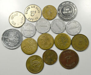 Military Officer's Club, Mess Hall Trade Tokens, Vietnam, Japan, Etc.- Lot of 16