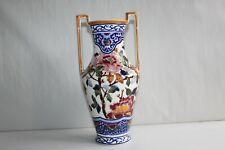 Vase amphore en faïence de Gien décor Pivoines H 28.5 cm