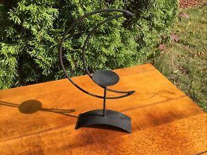 Tea light candle holder Black Iron Crescent Moon