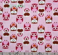Cute Owl Pink Cotton Quilt Fabric BHY