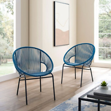 Woven Wicker Patio Chairs Handmade Modern Contemporary Lounge Set of 2 Blue