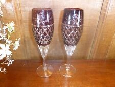 BOHEMIAN Crystal/Cut Glass RUBY OVERLAY CUT TO CLEAR SET 2 CHAMPAGNE FLUTES 8.5""
