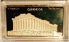 -#GREEK~ATHENS_EVZONES / ACROPOLIS_PARTHENON - GOLD Plated collectable INGOT