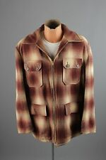 Vtg Men's 50s Wool Plaid Hunting Jacket sz L 1950s Coat #2232