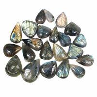 22 Pcs Natural Labradorite 20.5mm-35mm Big Hand Carved Gemstones Wholesale Lot