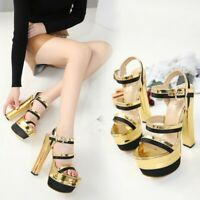 Womens Splice High Heels Platform Sandals Ankle Strap Open Toe Sexy Party Shoes
