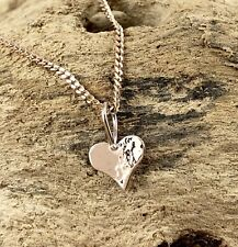 9ct 9k Rose Pink Gold 8.5mm Mini Hammered Heart Pendant or Charm Reversible