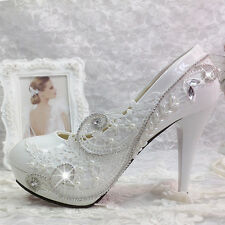 New  Lace pearl white  crystal Wedding shoes Bridal flats low high heel pump