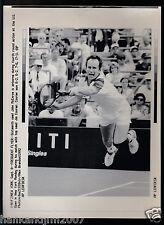 John McEnroe 1992 US Open Vintage A/P Laser Wire Photo with caption