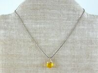 Vintage Amber Yellow Acorn Pendant Necklace Sterling Silver 925 Snake Chain