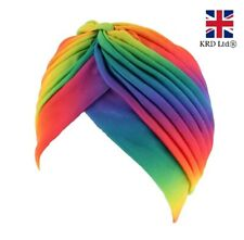 RAINBOW TURBAN Quality Ladies Girls Afro Indian Style Head Wrap Bandana Chemo UK