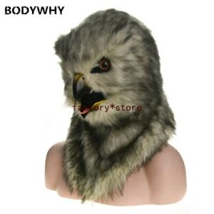 2020 Grey owl Mascot Costume Can Move Mouth Head Suit Halloween Outfit Cosplay