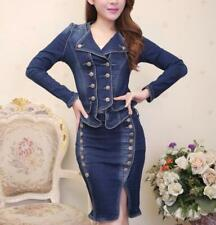 a113b80ef2 Fashion Lady Suit Dress 2 Piece Set Denim Jeans Jacket Skirt Costume Silm  Kit