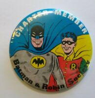 Batman & Robin Pinback Button Badge 66 Vintage Charter Member Society 1966 Bat