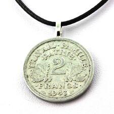 Collier pièce de monnaie France 2 francs Francisque Alumimium-magnésium