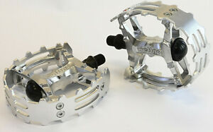 """Old School BMX Beartrap Pedals Silver - 1/2"""" for 1 piece cranks"""